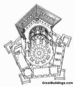 An architectural drawing of Villa Farnese in the Great Buildings Online. Renaissance Architecture, Historic Architecture, Architecture Drawings, Modern Architecture, Building Drawing, Italian Renaissance, Building Plans, Parks, Medieval