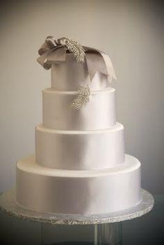 silver grey taupe ribbon wedding cake