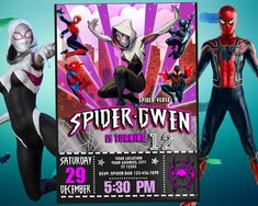 Spiderman Invitation Girl for Birthday Party, Into the Spider-verse Invite, Spider-Woman Digital Printable Card, Marvel, backside included Birthday Party Locations, Birthday Party Invitations, Birthday Cards, Birthday Parties, Printable Designs, Printable Cards, Printable Invitations, 7th Birthday Boys, Birthday Ideas