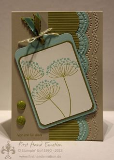 handmade card ... on kraft ... combined with olive, vanilla and aqua ... tag on a card ... luv the embossed big scallop die cut edge ... pleasing card ... Stampin' Up!