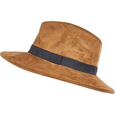 Brown faux-suede fedora hat 32,00 €
