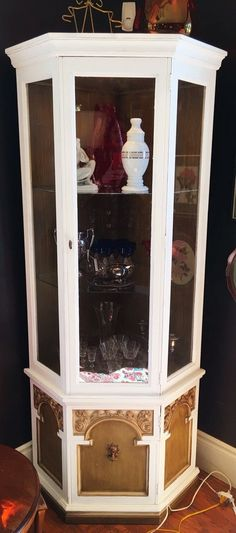 Shabby Chic White and Avocado Corner Cabinet with Interior Light and Glass Shelves $285