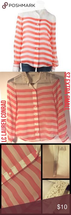 LC Lauren Conrad Stripe Shirt w/ Crochet Collar XS This is gently used, but in great condition. It is from Lauren Conrad's line LC sold at Kohl's. It is a sheer button down blouse. It has a crochet collar and has white and coral stripes. It is an extra small, XS. Retails for $44. Open for bundling or offers. LC Lauren Conrad Tops Blouses