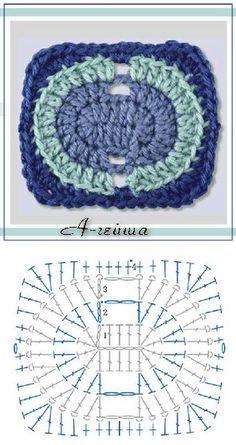 Цветные вязаные прямоугольники крючком Motifs Granny Square, Granny Square Crochet Pattern, Crochet Diagram, Crochet Squares, Crochet Granny, Crochet Motif Patterns, Crochet Blocks, Crochet Mandala, Crochet Art