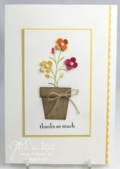 The green stem and leaves are stamped on, while the flowers are punched and popped up. Free cut the flower pot and add a simple twine bow. Handmade thank you card.