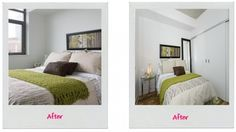 This bedroom was on the small size, so I opted to do away with a headboard and instead the picture frames the bed.