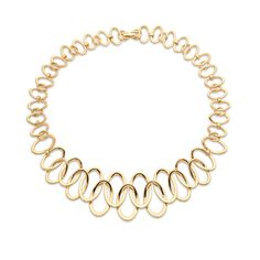 "Gold link collar necklace features interlocking oval links . Also available with matching earrings. Material: plated zinc metal alloy Measurements: 16"" long,"