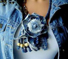 Original beautiful floral necklace in denim, jeans,unique handmade, decorated with pearl ,svarowski crystal,bieds, lace,denim cord, center of the flower is a new textile technology This jewelry highlights vibrant personality. It makes a great gift for her. This necklace length is
