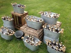 Galvanized metal decor is a must-have for any rustic or country wedding. It's … Galvanized metal decor is a must-have Farm Wedding, Wedding Day, Beer Wedding, Destination Wedding, Drinks At Wedding, Wedding Dress, Wedding Reception Bbq, County Wedding Ideas, Wedding Drink Table