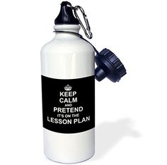 3dRose wb_179738_1 Black Keep Calm and Pretend Its on The Lesson Plan Funny Teacher Gift Sports Water Bottle 21 oz White * You can get additional details at the image link.Note:It is affiliate link to Amazon.