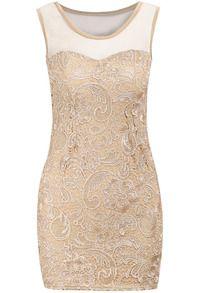 Apricot Contrast Sheer Mesh Yoke Lace Bodycon Dress
