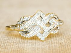 Vintage Engagement Ring Vintage Knot Infinity Diamond by fineNepic, $210.00