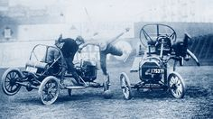 A game of Auto Polo, 1910 Yes, it's the horse sport. Only here they're using automobiles. Your typical match is likely to have a few broken spleen and crushed skulls. Dangerous Sports, Rolls Royce Phantom, It Takes Two, New Engine, Ford Models, Vintage Photography, Real Women, Historical Photos, First Time