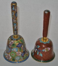 Incredibly MAGNIFICENT Pair CLOISONNE Vintage BELLS 2 Old CHINESE Hand Crafted