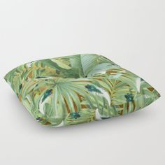 Golden Royal White and Blue-green Peacock Feathers Floor Pillow by justkidding #FloorPillow #graphicdesign #leaves #peacockfeathers #green #darkgreen
