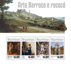 """Post stamp Mozambique MOZ 14307 a Baroque and Rococo art (Rembrandt van Rijn """"The return of the Prodigal Son"""", detail, 1669, {…}, Palace of San Telmo, facade, 1754, Spain)"""