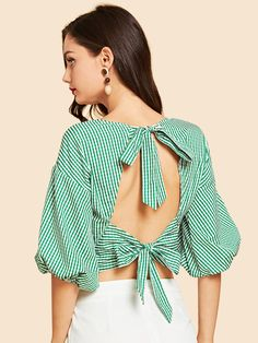 SheIn offers Tie Neck Striped Print Wrap Blouse & more to fit your fashionable needs. Fast Fashion, Fashion 2020, Cute Fashion, Fashion Online, Sari Design, Saree Blouse Designs, Blouse Styles, Blouse Wrap, Ruffle Blouse