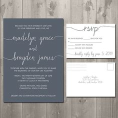 Scribble Wedding Invitation and RSVP Set - DIY Printable Wedding Invitation - Simply Smitten Designs on Etsy