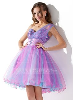 Homecoming Dresses - A-Line/Princess One-Shoulder Short/Mini Tulle Homecoming Dress With Ruffle Beading Sequins Dama Dresses, Quince Dresses, Quinceanera Dresses, 15 Dresses, Pretty Dresses, Beautiful Dresses, Short Dresses, Fashion Dresses, Formal Dresses