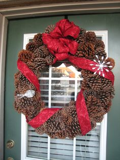 pine cone wreath I made for the Christmas season