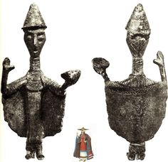 "The nuragic bronze called ""The Libation"" (ca. 6th c. BCE) found in a nuraghe near Lanusei and kept at the Museum of Cagliari, Italy. The long garment is typical of a priestess or a noble. It wears a conical hat. A very high collar covers the throat and extends to the lower end becoming a bib. The cloak has a semicircular application in relief, with the surface marked by large vertical and parallel incisions."