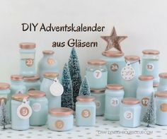 Upcycling advent calendar from empty glasses. Your individual advent calendar in your favorite color Advent Calenders, Diy Advent Calendar, Diy Presents, Diy Gifts, Upcycled Crafts, Diy And Crafts, Calendrier Diy, Creative Crafts, Creative Ideas