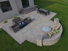 Backyard Fire Pit with Seat Wall and Paver Patio - Oasis Landscapes Fire Pit Seating, Wall Seating, Fire Pit Backyard, Backyard Pavers, Seating Areas, Patio With Firepit, Backyard Seating, Large Backyard, Fire Pit Off Patio