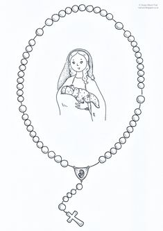The House of Häusl-Vad: the Rosary Mother Mary Images, Images Of Mary, Rosary Bead Tattoo, Rosary Beads, Catholic Crafts, Catholic Kids, Rosary Drawing, Sunday School Coloring Pages, Scripture Images
