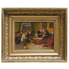"""The Monkey Court"" Oil on Panel, 19th Century English School"