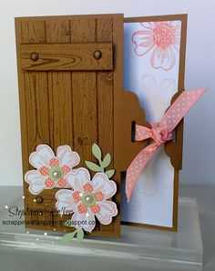 Stampin Up  Stamps: Hardwood (133035C) (133032W), Flower Shop (130942C) (130939W), Petite Petals (133155C) (133152W)   Ink: Crisp Cantaloupe (131176), Soft Suede (126978)   Paper: Kraft Cardstock (133674), Whisper White (100730), Pistachio Pudding (131294)   Cool Tools: Bird Builder Punch (117191), Pansy Punch (130698), Petite Petals Punch (133322), Scallop Tag Topper Punch (133324), Itty Bitty Shapes Punch Pack (Retired)