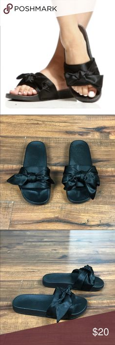 💥Black satin bow tie slide sandals/ slippers Unbranded black satin slide sandals •Cute satin bow (can be re-tied or re-arranged) •These can be worn with just about anything, or even just around the house •Barely used- great condition! •A couple 'dull' spots on the footbed, hardly noticeable (see pics) •Size 38 (7)  👣Check out similar slides in my closet 👣 ⚜️ Same/next day ship ⚜️ 🐲 Smoke-free 🐲  I do not discuss price in the comments, use the offer button please Shoes Sandals