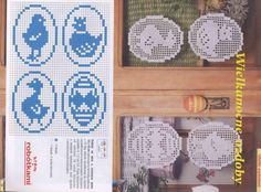 W kor(d)onkach i włóczkach: Kaczka i zając - wielkanocne zawieszki na okno luty 2013 (15, 16) Easter Crochet Patterns, Crochet Doilies, Cross Stitch Samplers, Cross Stitch Patterns, Yarn Crafts, Diy And Crafts, Owl Basket, Towel Animals, Filet Crochet Charts