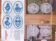 W kor(d)onkach i włóczkach: Kaczka i zając - wielkanocne zawieszki na okno luty 2013 (15, 16) Yarn Crafts, Decor Crafts, Diy And Crafts, Filet Crochet Charts, Knitting Charts, Easter Crochet Patterns, Crochet Doilies, Cross Stitch Samplers, Cross Stitch Patterns