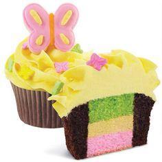 Multi coloured centre cupcake