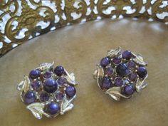 Vintage Purple Rhinestone STAR signed earrings by VintagObsessions, $9.00