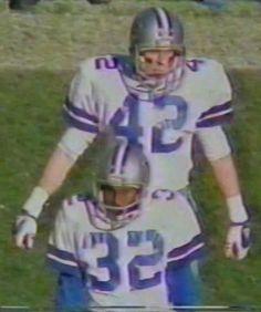 Safeties RANDY HUGHES (42) and DENNIS THURMAN (32)--December 7, 1980 Cowboys 4, Dallas Cowboys, Tom Landry, December 7, Football, Fence, Sports, Texas, American Football