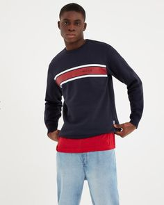 NICCE Mens Varsity Sweat NAVY New mens NICCE summer 2019 collection Mens sweatshirt Style Varsity Crew neck Cotton polyester mix 50 - 50 cuffed sleeves and hem machine wash regular fitting printed logo on chest Fake Tan, Cuff Sleeves, Mens Sweatshirts, Stage, Underwear, Crew Neck, Navy, Cotton, Mens Tops