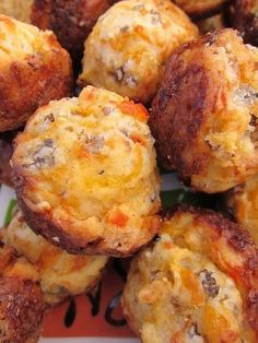 CREAM CHEESE SAUSAGE BALLS 1 lb hot sausage, uncooked 8 oz cream cheese, softened 1 1/4 cups Bisquick 4 oz cheddar cheese, shredded Preheat oven to 400F. Mix all ingredients until well combined. (I use my KitchenAid mixer with the dough hook attachment) Roll into 1-inch balls. Bake for 20-25 minutes, or until brown. Sausage balls may be frozen uncooked. If baking frozen, add a few minutes to the baking time. #food #recipes