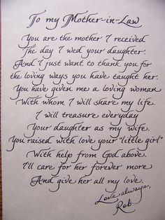 the personal touch mother in law poem for the brides mom great gift idea could be changed to fit the grooms mom also