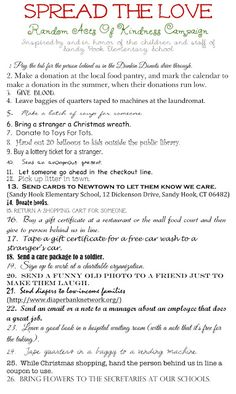 In lieu of Mangia Mondays:: Spread The Love Random acts of kindness ideas Noel Christmas, 12 Days Of Christmas, Christmas Ideas, Christmas Charts, Christmas Printables, Community Service Projects, Pay It Forward, Kindness Matters, Good Deeds
