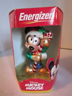 ENERGIZER Mickey Mouse Christmas European Style Hand Blown Glass Ornament NEW #Eveready