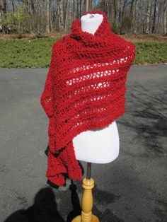 Ariel Lace Red Knit Boucle Shawl by PoppyLesti on Etsy, $70.00