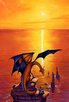 Artwork: dragonsong by fantasy artist Les Edwards. See more artwork by this featured artist on the fantasy gallery website. Fantasy Dragon, Dragon Art, Fire Dragon, Fantasy Kunst, Fantasy Art, Fantasy Places, Magical Creatures, Fantasy Creatures, Dragonriders Of Pern