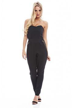 Women's Boobtube Zip Long Black Jumpsuit – Online Exclusive