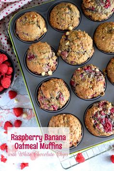 Raspberry Banana Oatmeal Muffins with White Chocolate Chunks Raspberry Oatmeal Muffins, Raspberry And White Chocolate Muffins, Banana Blueberry Muffins, White Chocolate Chips, Blue Berry Muffins, Banana Chocolate Chip Muffins, Banana Bread, Raspberry Recipes, Raspberry Cake