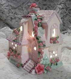 Says Easter, but would still be pretty for Christmas  Shabby Cottage Chic Lighted Easter Village House w/ Roses & Glass Glitter