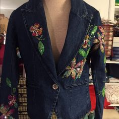 Vtg :Denim jacket . Blue denim jacket made in India with flower appliqué  assemble in colorful beads and sequins .Medium, good shape and condition . No missing beads or sequins. Smoke free odor .more picture details visit @ flashback closet. Jackets & Coats Jean Jackets