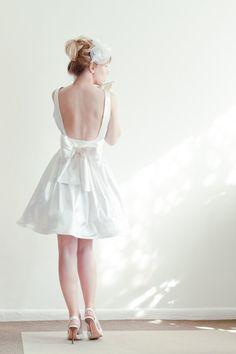 Open-back Short Wedding Dress in Bridal Satin. $279.00, via Etsy.