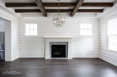 """Jason Black on Instagram: """"Shiplap walls and aged wood beams give this living room a very comfortable feel. #ballarddesigns"""" Architectural Landscape Design"""