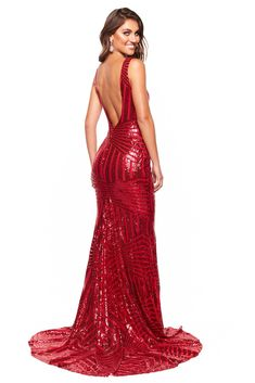 e30587325be0ae A&N Luxe Serena - Red Sequin Mermaid Gown with Plunge Neck & Low Back – A&N